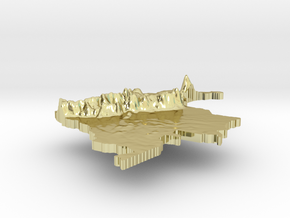 Colombia Terrain Silver Pendant in 18K Gold Plated
