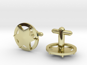 Sheriff's Star Cufflink (Style 3) Silver,Brass,Gol in 18K Gold Plated