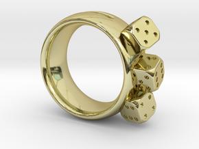 Ring Würfel/Dice 01, 19mm in 18K Gold Plated
