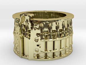 AK-47 75 rnd. Drum, Thick version, Ring Size 14 in 18K Gold Plated