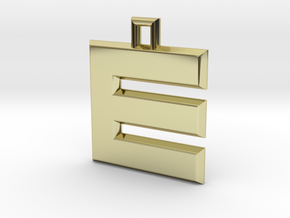 ABC Pendant - E/3 Type - Solid - 24x24x3 mm in 18K Gold Plated