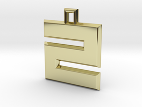 ABC Pendant - Z/2 Type - Solid - 24x24x3 mm in 18K Gold Plated