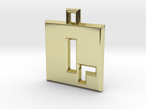 ABC Pendant - Q Type - Solid - 24x24x3 mm in 18K Gold Plated
