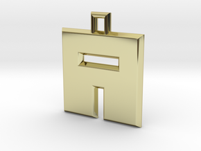 ABC Pendant - A Type - Solid - 24x24x3 mm in 18K Gold Plated