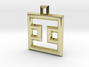 ABC Pendant - I2 Type - Wire - 24x24x3 mm in 18K Gold Plated