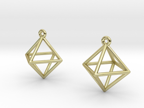 Octahedron Earrings in 18K Gold Plated