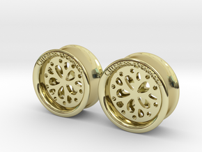 1 Inch Flower Cut Out Plug in 18K Gold Plated