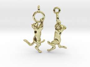 Hanging Cat Earrings in 18K Gold Plated