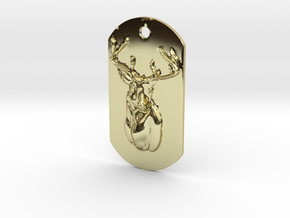 Dog Tag Deer Head in 18K Gold Plated