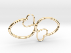 Eternal Double Heart Pendant in 14k Gold Plated Brass