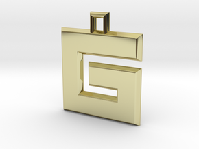 ABC Pendant - G Type - Solid - 24x24x3 mm in 18K Gold Plated