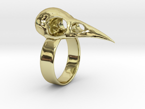 Realistic Raven Skull Ring - Size 11 in 18K Gold Plated