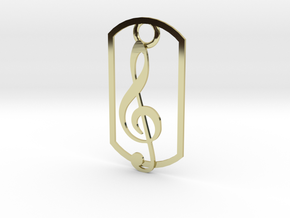 Treble clef dog tag in 18K Gold Plated