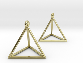 Tetrahedron Earrings in 18K Gold Plated