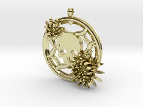 2 Inch Chrysanthemum And Skull Pendant in 18K Gold Plated
