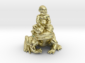 Putti On Frog 3 Inches Tall in 18K Gold Plated