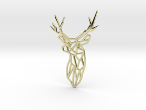 Stag Trophy Head Pendant Broach in 18K Gold Plated