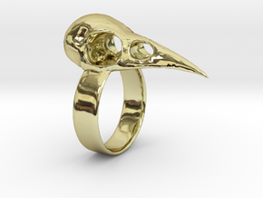 Realistic Raven Skull Ring - Size 7 in 18K Gold Plated