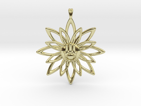 Blooming Hamsa Hand Flower Jewelry Pendant in 18K Gold Plated