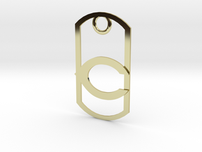 """Carlsbad """"C"""" dog tag in 18K Gold Plated"""