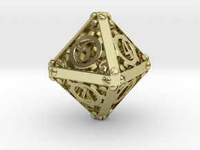 Steampunk d8 in 18K Gold Plated