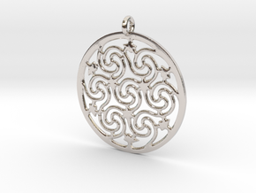 Celtic Seven Spiral Pendant in Rhodium Plated Brass