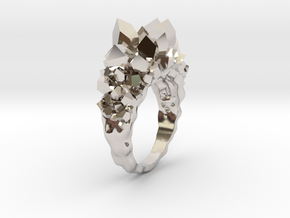 Crystal Ring size 9 in Rhodium Plated Brass