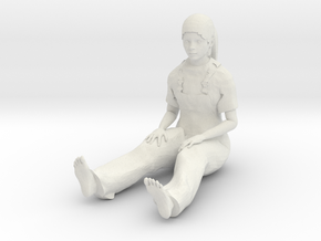Young girl sitting 1/29 scale in White Natural Versatile Plastic