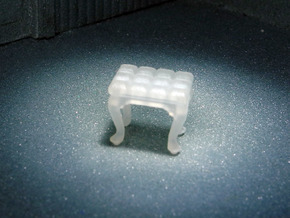 1:48 Tufted Vanity Stool in Frosted Ultra Detail