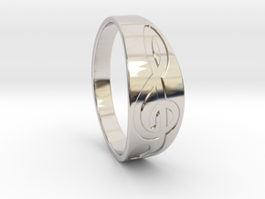 Size 10 M G-Clef Ring Engraved in Rhodium Plated Brass