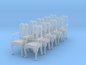 1:48 Queen Anne Chair with Arms (Set of 10) in Smooth Fine Detail Plastic
