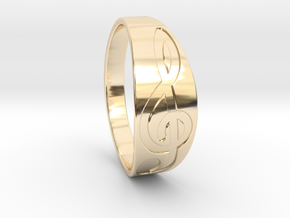 Size 11 M G-Clef Ring Engraved in 14k Gold Plated Brass