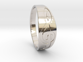 Size 11 M G-Clef Ring Engraved in Rhodium Plated Brass