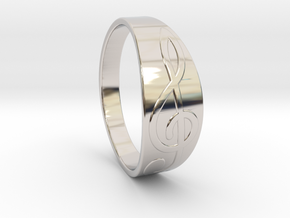 Size 10 M G-Clef Ring  in Rhodium Plated Brass