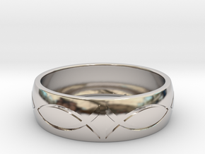 Size 10 Ring engraved in Rhodium Plated Brass