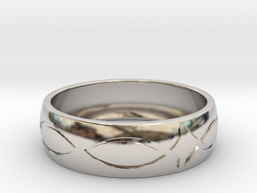 Size 7 Ring engraved in Rhodium Plated Brass