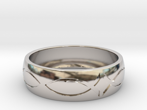 Size 6 Ring engraved in Rhodium Plated Brass