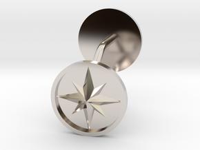 Compass cufflinks in Rhodium Plated Brass
