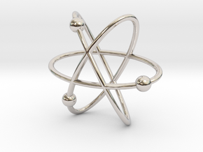 Atom Pendant in Rhodium Plated Brass