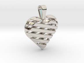 Striped heart pendant in Rhodium Plated Brass