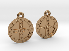 RoundShield Earrings in Polished Brass
