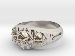 Cutaway Ring With Skulls Sz 8 in Rhodium Plated Brass