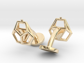 Asp mkII Wireframe Cufflinks in 14k Gold Plated Brass