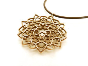 Mandala Flower Necklace in Polished Bronzed Silver Steel