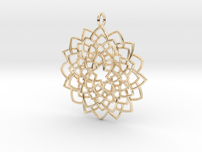 Mandala Flower Necklace in 14k Gold Plated Brass