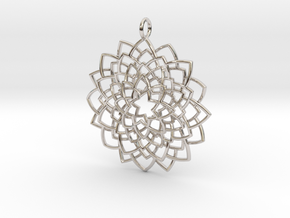 Mandala Flower Necklace in Rhodium Plated Brass
