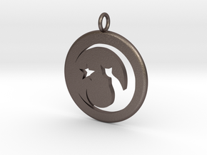Cat Necklace in Polished Bronzed Silver Steel