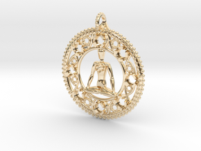 Centered In Meditation Pendant in 14k Gold Plated Brass