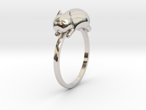 Happy Cat Ring in Rhodium Plated Brass: 7 / 54