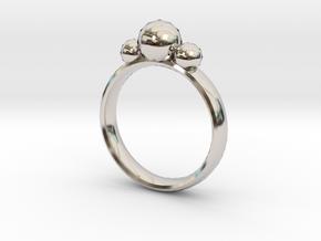 GeoJewel Ring US Size 6 UK Size M in Rhodium Plated Brass